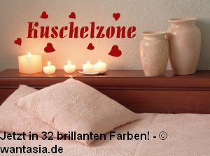 Wandtattoo fürs Schlafzimmer Text / Sprüche - Kuschelzone - kuscheln 29x11  cm, schwarz, 620014 Wandaufkleber Wandtatoos Sticker Aufkleber für die ...