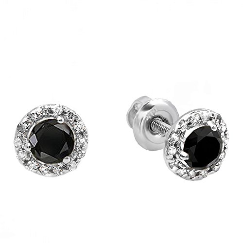 Dazzlingrock Collection 0.35 Carat (ctw) 10K Round Black & White Diamond Halo Stud Earrings, White Gold
