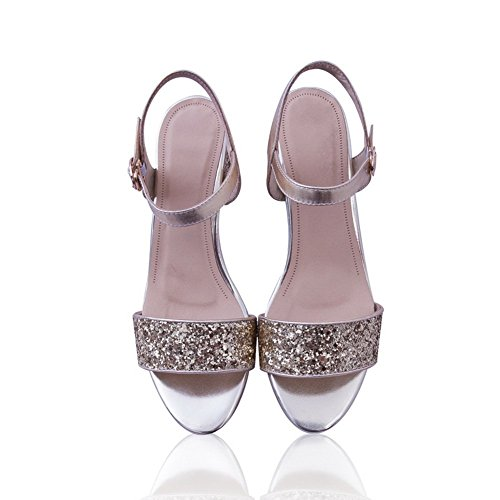 Blend Materials Sandals Style US M Gold B 1TO9 Womens Heels European 3 Kitten TYC6Zq