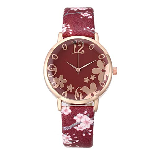 (Women'S Artificial Leather Strap Watch,Easy Reader Quartz Analog Strap Watch Suitable For Holiday Gifts (Red))