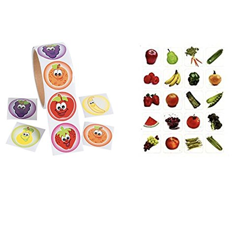 320 FRUITS & Vegetables Stickers - 2 Rolls of 100 FRUITS & 6 Sheets of 20 VEGGIES Vegetables Nutrition HEALTH - Teacher Motivational Rewards EDUCATION Classroom Party Favors