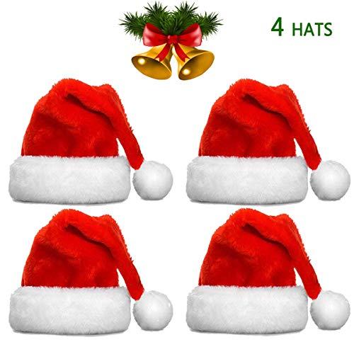 Christmas Hats Bulk Santa Hats- Christmas Costume Classic Hat -Christmas Hats for Women/Men/Kids/Adult (4 Pack Christmas Hats)