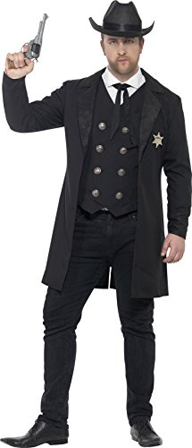 [Smiffy's Men's Sheriff Costume, Jacket, Mock Shirt, Waistcoat, Neck Tie and Hat, Western, Serious Fun, Plus Size L,] (Womens Western Costumes)