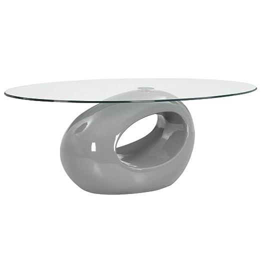 Festnight - Mesa de Centro Ovalada de Cristal, Mesa para sofá ...