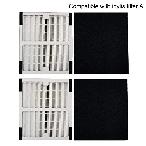 TINGSHAN Replacement Idylis Air Purifier Filter A - 2 Pack Hepa & Carbon Filter Set for Idylis Air Purifiers Idylis IAP-10-100 Idylis IAP-10-150, AC-2119, Model # IAF-H-100A, - Air 100