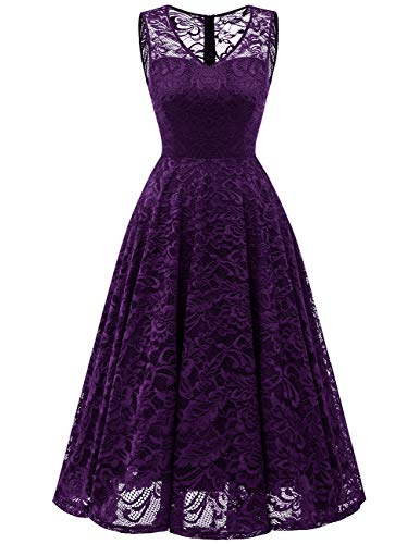 Meetjen Women's Cocktail V-Neck Dress Floral Lace Tea-Length Bridesmaid Party Dress Midi Grape L