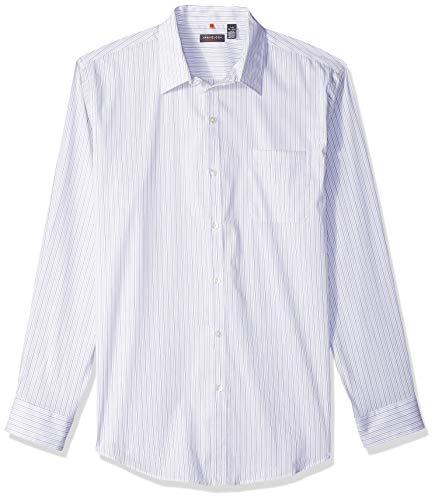 Van Heusen Men's Traveler Stretch Long Sleeve Button Down Blue/White/Purple Shirt, Bright Stripe, XX-Large