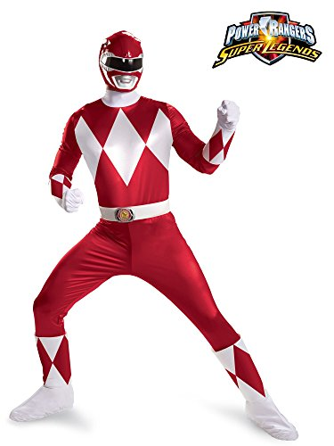 Disguise Sabans Mighty Morphin Power Rangers Red Ranger Super Deluxe Mens Adult Costume, Red/White, X-Large/42-46 -