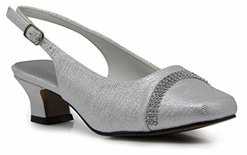 (Enzo Romeo Antica02 Women's Wide Width Sling Back Low Heeled Pumps Sandals Shoes (10 Wide US, White))