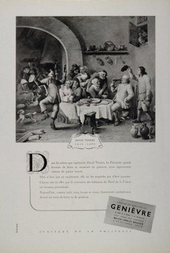 1946 Ad Genievre Gin David Teniers Flemish Tavern Bar - Original Print Ad (Bar Cena)