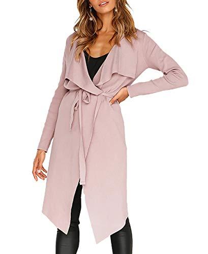 PRETTYGARDEN Womens Long Sleeve Drape Front Soft High Low Asymmetrical Irregular Hem Knit Cardigan Coat Belt