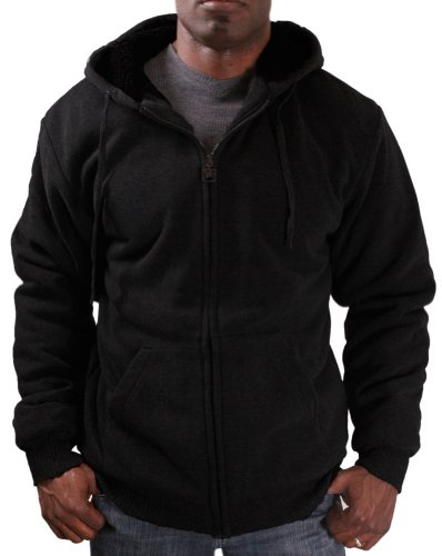 Moda Essentials Men's Fashion Sherpa Lined Zip Up - Mens Zip Up Lined Hoodie