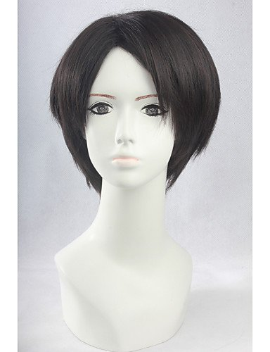 [Wigs have an attractive convenience fashion Angelaicos Men Attack On Titan Levi Short Brown Straight Layered Parting Natural Halloween Party Costume Cosplay] (Hollywood Quality Costumes For Sale)