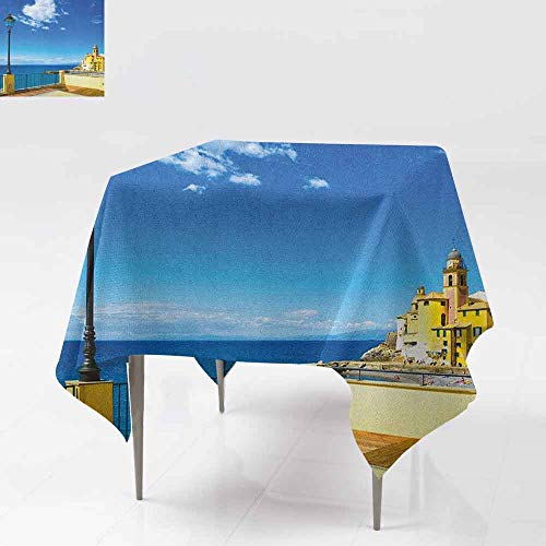 (SONGDAYONE Durable Square Tablecloth Italian Camogli Building Sea Lamp and Balcony Tourist Spot in Ligury Italy Print Protection Table Blue White and Yellow W36 xL36)