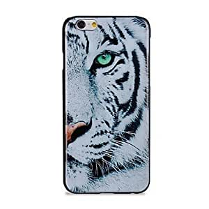 Generic Fashion White Tiger Pattern Protective Hard Phone Cover Skin Case for iPhone 6 - Non-Retail Packaging - White