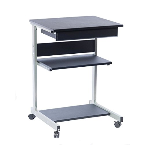 Rolling Laptop Computer Cart Made of MDF and Steel in Graphite Finish 31'' H x 22'' W x 20'' D in. by Techni Mobili,.