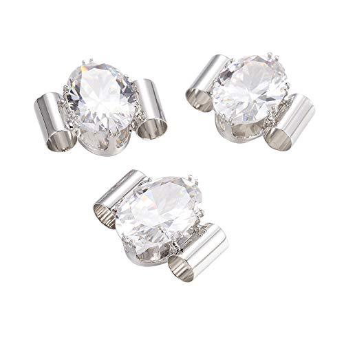 PH PandaHall 10PCS Oval Brass Cubic Zirconia Multi-Strand Links Platinum Charm Links for Bracelet Necklace Jewelry Making 19x21x8mm, Hole ()