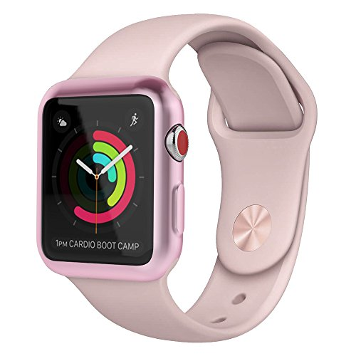 Apple Watch 3/2 Screen Protector 38mm, UMTELE Plated TPU Case Integrated Screen Protector Slim Lightweight Protective Bumper Cover for Apple Watch Series 3 2 Rose Gold Photo #5