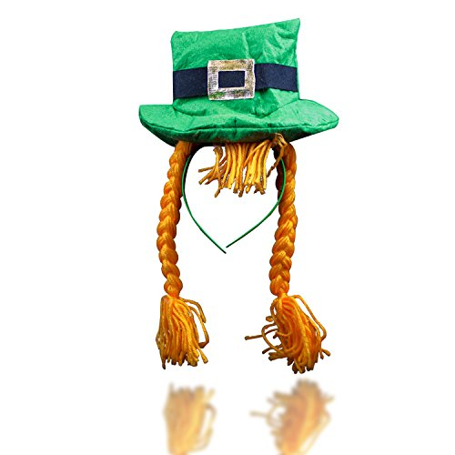 [St. Patrick's Day Irish Leprechaun Headband with Braids] (Leprechaun Photo Prop)
