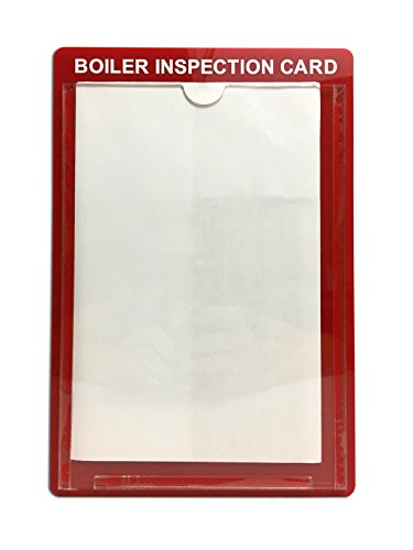 Boiler Inspection Card Holder -10'' x 6.75'' Red Acrylic Wall Card Holder 5-Pack by Island Visuals Inc.