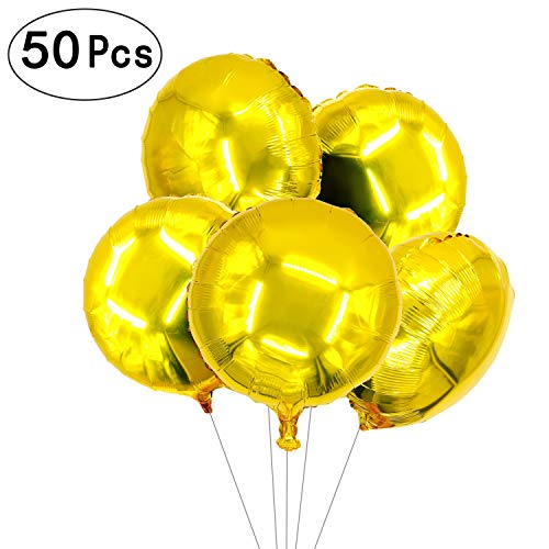 18 inch Glitter Gold Round Shaped Foil Mylar Balloons Helium Balloons Wedding Favors Baby Shower Birthday Party Decorations, 50 PC for $<!--$19.77-->
