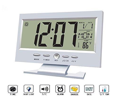 Silent Alarm Clock,Multifunction Sound Control Large LCD Screen Digital Clock, Time/Calendar/Week/Temperature Display, Snooze (Silver) Large Flat Displays