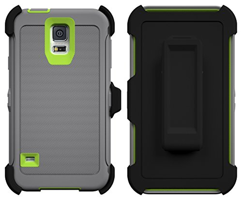 Galaxy S5 Case, ToughBox® [Armor Series] [Shock Proof] [Gray | Neon Green] for Samsung Galaxy S5 Case [Built in Screen Protector] [With Holster & Belt Clip] [Fits OtterBox Defender Series Belt Clip]