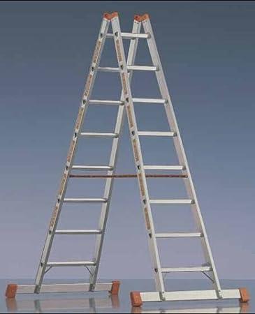Layher TOPIC 1039 – Escalera de aluminio con travesaño 10 peldaños, Stand Altura 2,10 m, longitud 2,95 m: Amazon.es: Bricolaje y herramientas