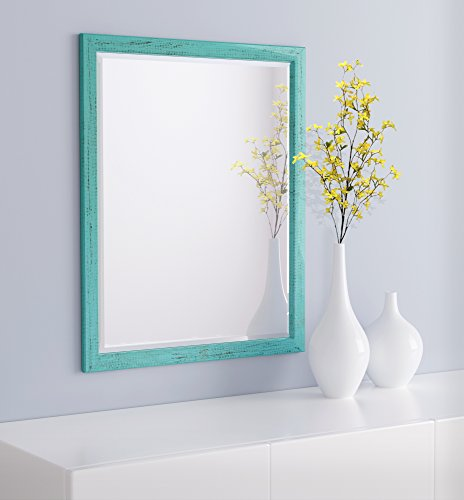 LND Reflections Framed Beveled Mirror - 25'x31' or 27'x39' (25' x 31', French Teal)