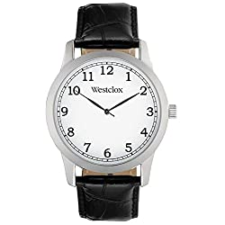 Westclox Silver Case With Black Genuine Leather Watch