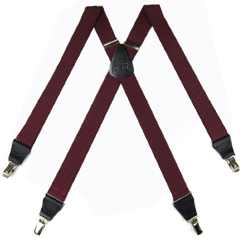 Burgundy Check Pattern Suspenders By The-Perfect-Necktie