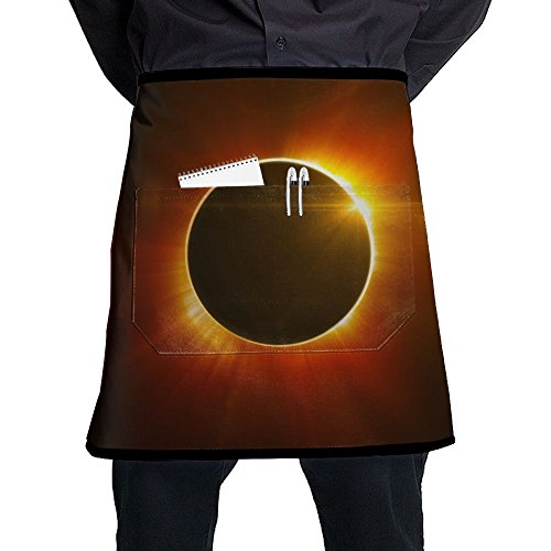 Waist Short Apron Half Chef Apron With Pockets Solar Eclipse Sun Home Kitchen Cooking Pinafore For Bistro Restaurant Cafe Pub BBQ Grill by Changan