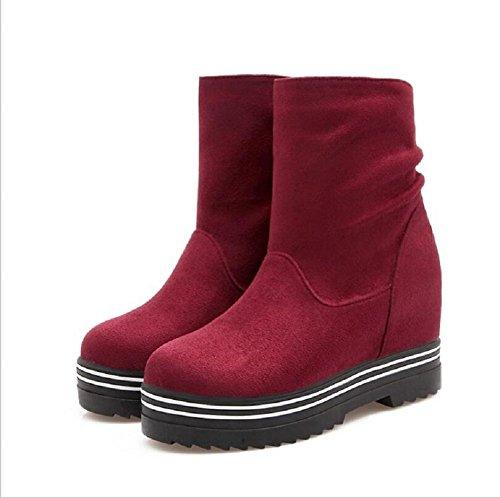 Zapatos high-end del invierno de la mujer para ayudar a aumentar el Morro zapatos ocasionales red