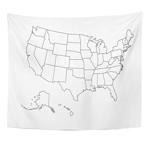 Emvency Tapestry State Blank Outline Map of USA United Line White Home Decor Wall Hanging for Living Room Bedroom Dorm 50x60 - Outline Blank Maps