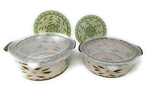 Temp-tations Set of 2 Round Flat Bottom Bakers 1.75 & 1.0 Quart w Glass Trivets & Plastic Covers (Old World Green)