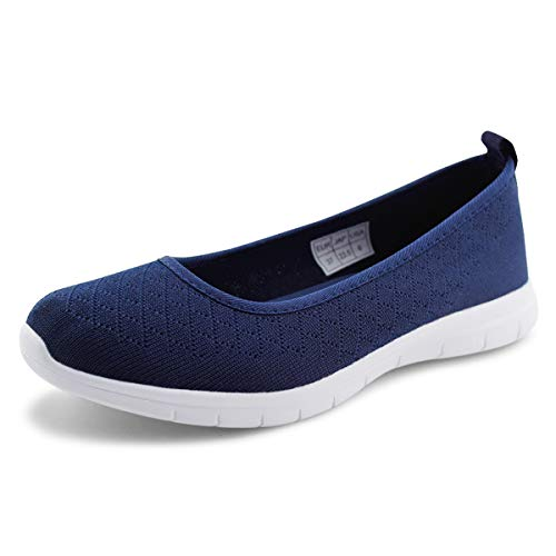 Jabasic Women Knit Loafers Lightweight Slip On Flat Shoes (10,Navy)