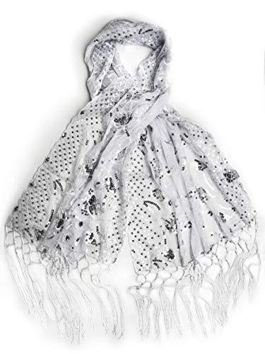 Bohomonde, Amaryllis Shawl, Sequin Evening Wrap, Embroidered Sequin Shawl (White/Silver)