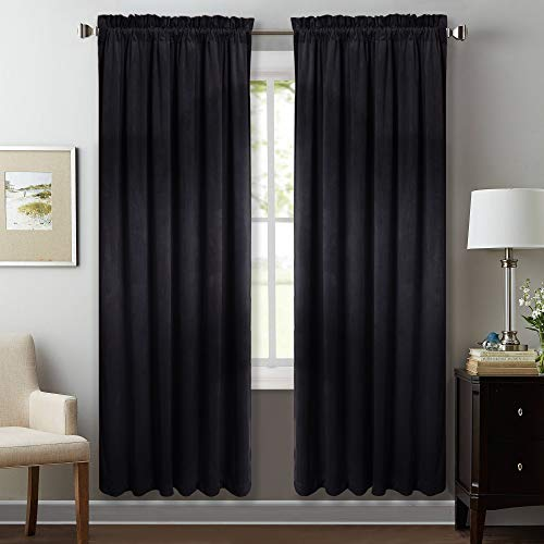 StangH Heavy Velvet Insulated Curtains - Casual Interior Velvet Blackout Drapes Noise Absorbing Privacy Protect Panels for Home Theater, Black, W52 x L72, 2 Panels