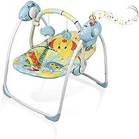 VASTFAFA Baby Swing,Blue Elephant Pattern Chair Seat for Newborns