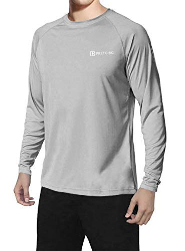 Pretchic Men's UPF 50+ UV Sun Protection Long Sleeve Outdoor T Shirt Grey S (Loose Uv Shirt)