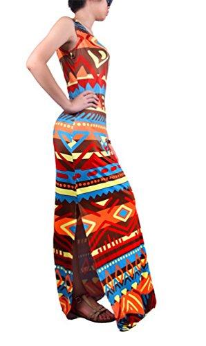Niseng Mujeres Moda Larga Vestido Sin Mangas Impresión Maxi Vestido De Cóctel Verano Vestido De La Playa Estilo 2#