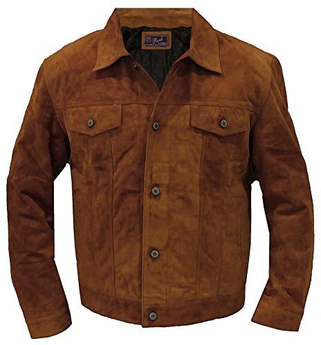 Mens Genuine Suede Western Bomber Biker Jacket - Vintage Shirt Style Coat (L/Body Chest 42