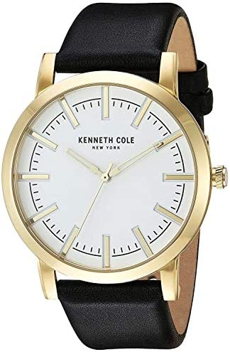 Kenneth Cole New York Men s Slim Stainless Steel Japanese-Quartz Watch with Leather Calfskin Strap, Black, 22 Model 10030810