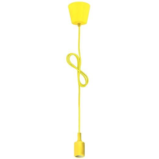Porta Lampara E27 de Techo Lampara Colgante Modernas Silicona Colores Amarillo para Comedor Cocina Infantiles Salon Oficina Longitud Ajustable Max 140 CM de ...