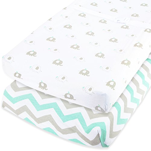 Cuddly Cubs Baby Changing Table Pad Cover Set For Boy & Girl | Soft & Breathable 100% Jersey Cotton | Adorable Unisex Patterns & Fitted Elastic Design | Cute Nursery (Baby Table Cover)