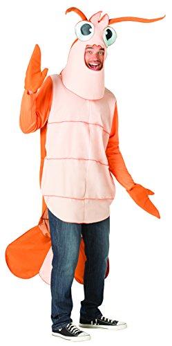 Rasta Imposta Shrimp Costume, Crawfish, Crustacean Adult One Size for Men & Women Orange, -