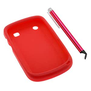 GTMax Red Silicone Skin Soft Cover Case + Red Full Size Stylus with Flat Tip For Blackberry Bold 9900 9930