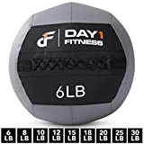 Soft Wall Medicine Ball by Day 1 Fitness AVAILABLE in 9 WEIGHTS, for Exercise, Rehab, Core Strength, Large Durable Balls for TRX, Crossfit, Floor Exercises, Stretching