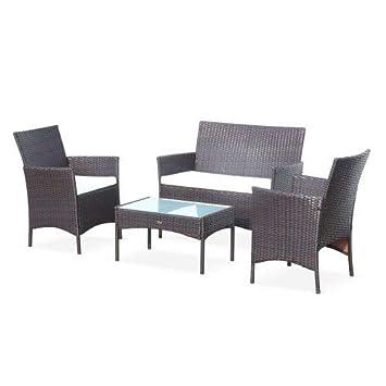 Salon de Jardin en résine tressée - Moltès - Chocolat, Coussins Ecru - 4  Places - 1 canapé, 2 fauteuils, Une Table Basse