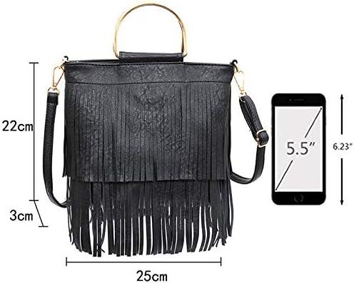 ZLMBAGUS Women Fashion Shoulder Crossbody Tote Handbag Purse Fringe Messenger Bag Purse